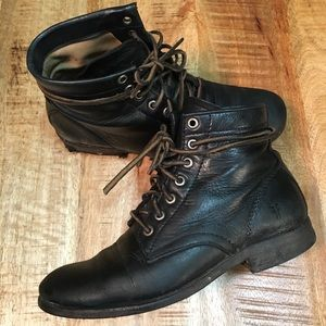 Frye Tyler Black Leather lace up boot